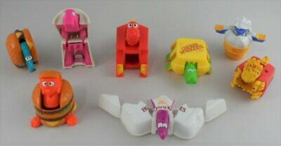 SET of 8 McDONALD'S McDINO CHANGEABLES - FOOD TRANSFORMERS McDonalds vtg 1990 !