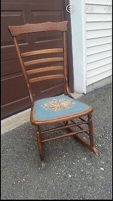 Antique  Wood Rose Needlepoint Small Rocking Chair VERY NICE