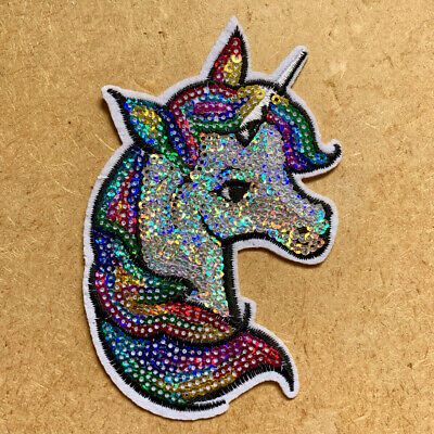 1pc Unicorn Sequin Embroidered Patch Cloth Iron On Applique craft sewing #1343