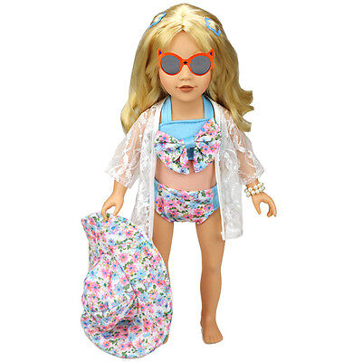 Low Price Fashion 1 Set Hat Swimwear Bathing Suit Clothes For 18 Inch Doll Toy