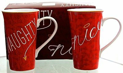 222 Fifth Naughty Nice Red Set Of 2 Latte Mugs Porcelaine New