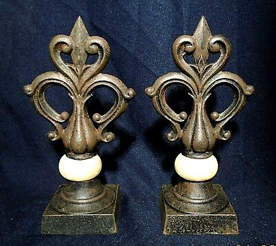 "2 Antique Cast Iron & Faux Marble Finials -- 8 1/2"" Tall -- Very Pretty!"