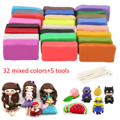 32 Mixed Color Oven Bake Fimo Polymer Soft Clay Modelling Moulding DIY Toys