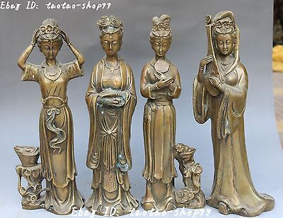 Chinese Bronze Ancient 4 Belle Beauty People Qin Chess Book Painting Set Statue
