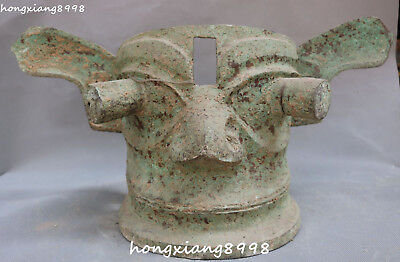 Ancient China Bronze Vessel Ware Hand Made People Person Man Mask Masks Statue