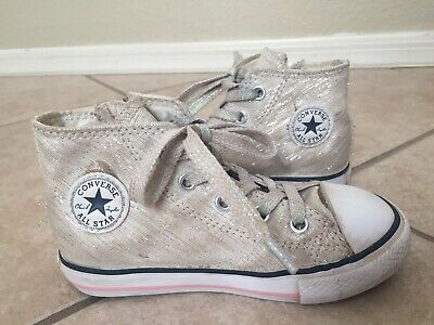 19a79da2b694 Converse Chuck Taylor All Star High Top Side Zip Silver Sparkle Sneakers  Kids 8