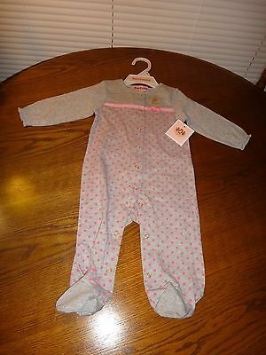 Juicy Couture~Girl's Toddler Nb Cotton Footie~Grey/Pink~Polka Dot~ 3-6 M