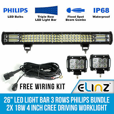 "26"" LED Light Bar 3 Rows Philips bundle 2x 18W 4 inch CREE Driving Worklight"