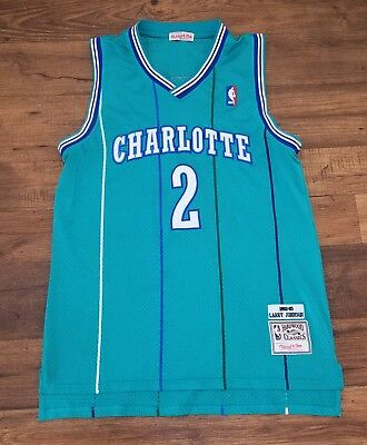 160cd7711 Larry Johnson  2 Charlotte Hornets Mitchell   Ness Mesh NBA Throwback Jersey  M