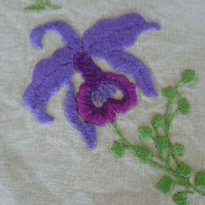 Vintage Hand Embroidered  Purple Orchid Large Doiley Cream  Hand Crocheted Edge
