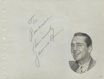 Oscar Winning Actor JAMES DUNN Signed Album Page 1935 - A TREE GROWS IN BROOKLYN