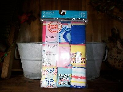 Wonder Nation Girls Underwear  9 Pack Size 12 Novelty Hipsters School Panties