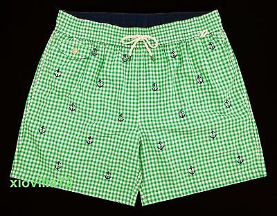 2ea78ee0f3 Men's Polo Ralph Lauren Traveler Green Gingham Anchor Swim Trunks Board  Shorts