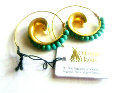 OTTOMAN HANDS TURKISH design Turquoise Beads 21kt Gold CURLICUE HOOP EARRINGS
