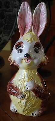 """Vintage 12"""" YELLOW BUNNY RABBIT Piggy Bank CERAMIC HAND PAINTED ITALY Signed"""
