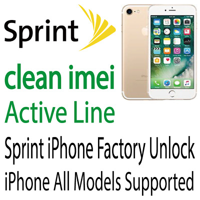 Sprint iPhone X 8 8+ 7 7+ 6S 6S+ Plus Unlock Service Clean IMEI