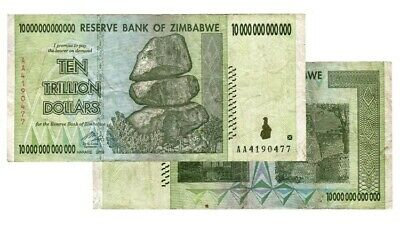 1 x Zimbabwe 10 Trillion Dollars Banknotes, AA /2008 PACKED & READY TO SHIP OUT!
