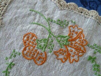 Vintage Hand Embroidered Floral  Small Doiley Cream Crocheted Edge