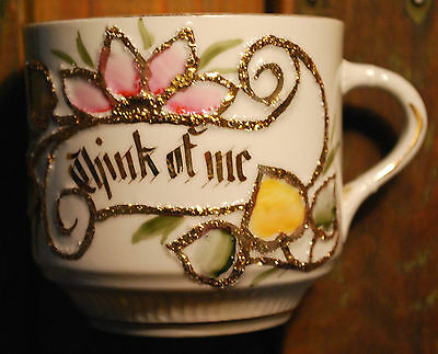 THINK OF ME Antique China BARBER SHAVING MUG Painted Flowers & Gold GERMANY