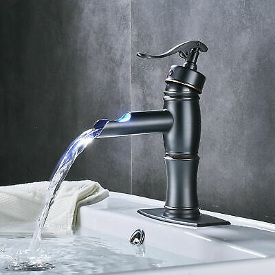 Oil Rubbed Brozne Bathroom Faucet Basin Single Handle Hot & Cold Water Mixer Tap
