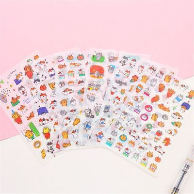 6 Sheets Cartoon Cats PVC Stickers Cute Stationery Scrapbooking Stickers