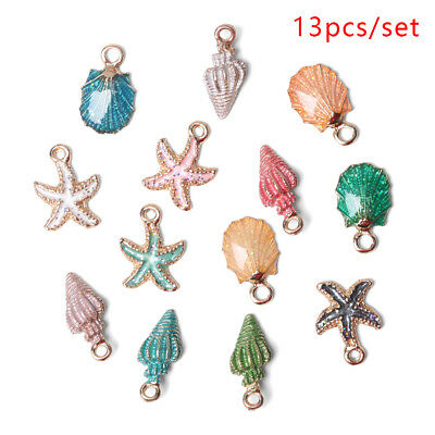 13Pcs Conch Sea Shell Pendant DIY Charms Jewelry Making Handmade Accessories~