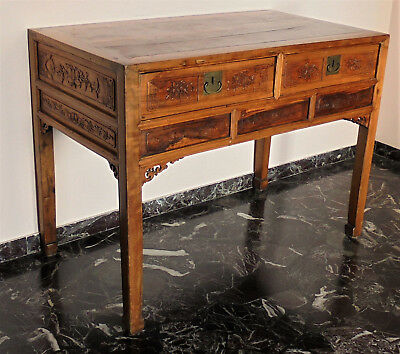 CINA (China): Old and fine Chinese carved wood table desk