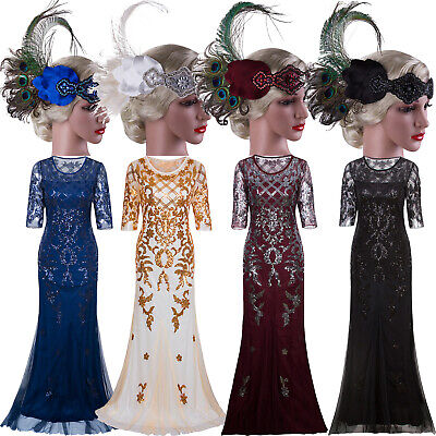 Long Prom Dresses 1920s Flapper Dress Costumes Party 20s Evening Gowns Plus Size
