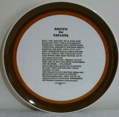 VINTAGE PAVLOVA PLATE RUST & CHOC BROWN RING DESIGN with RECIPE - MADE in JAPAN