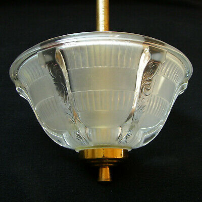 ANTIQUE ART DECO 1930 signed EZAN FRENCH CEILING LIGHT CHANDELIER MOLDED GLASS