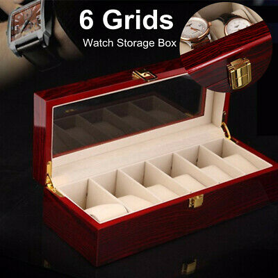 6 Grids Wood Watch Display Case Jewelry Collection Storage Holder Gift Box