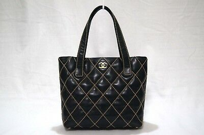 33270141a4b5cf Auth CHANEL Wild Stitch CC Logo Quilted Calfskin Tote Bag Gold Hardware  J1360