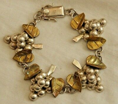 Vintage Mexican Two-Toned Sterling Silver Grapes & Leaves Bracelet