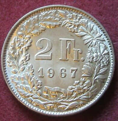 1967 Two Francs Switzerland Silver coin.