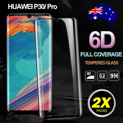 For Huawei P30 P30 Pro 6D Curved Tempered Glass Full Cover Screen Protector Film