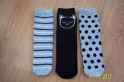 3 Prs Girls Boy Socks 9 - 12 Black + White Cat Face Grey Stripes Grey Spot Bnwot