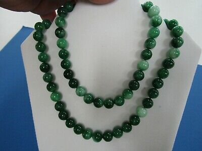 Vintage Chinese Dark Green Jade Large 10 mm Bead NeckLace 90 cm Long