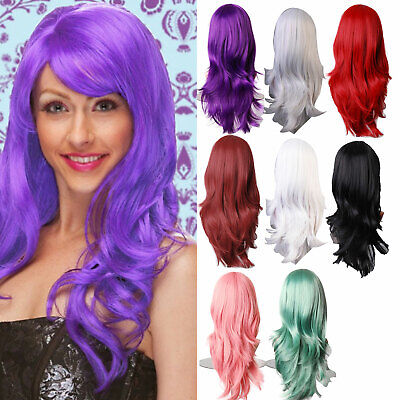 70cm Women Long Curly Wavy Wig Synthetic Hair  Color Girl Cosplay Full Wigs AU