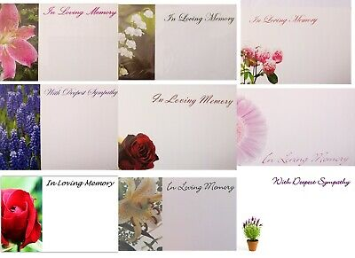 WITH DEEPEST SYMPATHY/IN LOVING MEMORY FLORIST FLOWERS  MESSAGE CARDS & envelope