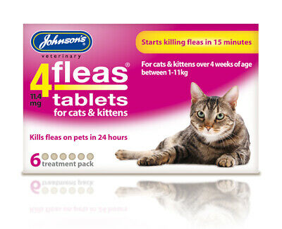Johnsons 4flea Cat kitten tablets 6pk bulk buy - Killer fleas treatment tabs