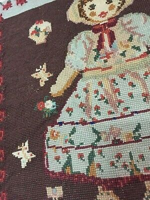 Vintage Cross Stitch Wool Panel 1950s Rustic Portuguese tapestry~90cms x 65cms