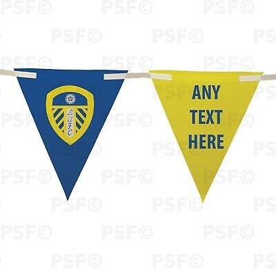 Official LUFC Bunting 10 Piece Triangle Current Crest Add Text Leeds United FC