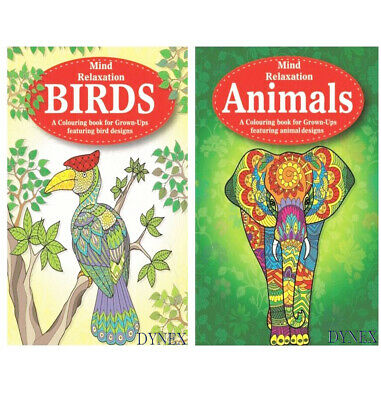 2 x Colour Therapy Animals/Birds Adult Colouring Books, anti stress