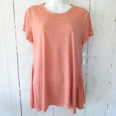 New Style & Co T Shirt S Small Coral Pink Orange Burnout Swing Handkerchief Hem