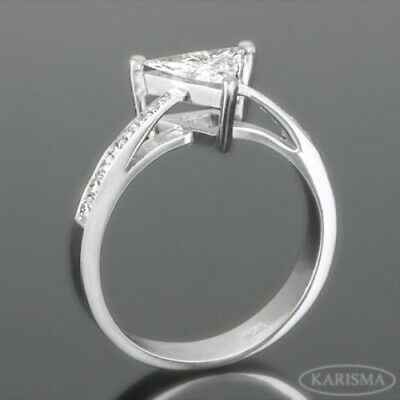1 1/4 Carat Accented Diamond Trillion Ring 18 Kt White Gold Natural Size 6 7 8