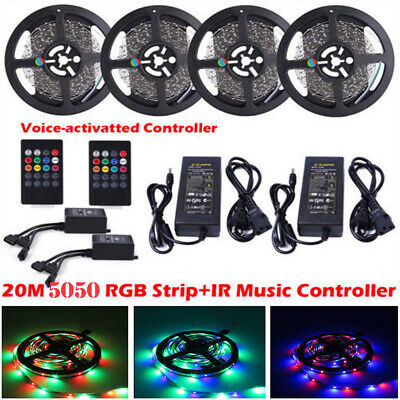 5M-20M 5050 Music Sound Activated RGB LED Strip Light Waterproof+Remote+Adapter