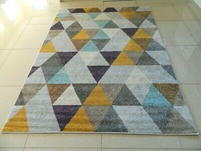 Modern Mustard Mauve Funky Luxury Soft Geometric Heavy Large Area Rug Runner Mat