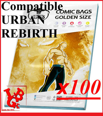 Pochettes Protection GOLDEN Size REFERMABLES comics x 100 Bags URBAN # NEUF #