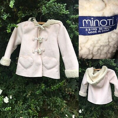 Minoti 2-3 Years Pink Coat Faux Sheepskin Fluffy Fur Lined Vintage Jacket Girls