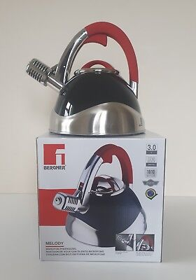 BERGNER Black & Red Microphone Whistle Kettle 3L Induction